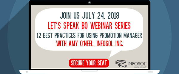Let's Speak BO Webinar The 12 Best Practices for using Promotion Manager July 24 2018