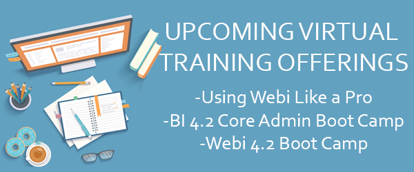 Upcoming BusinessObjects Virtual Training
